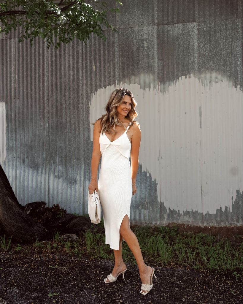 White Midi Dress For Date Night | Her Fashioned Life