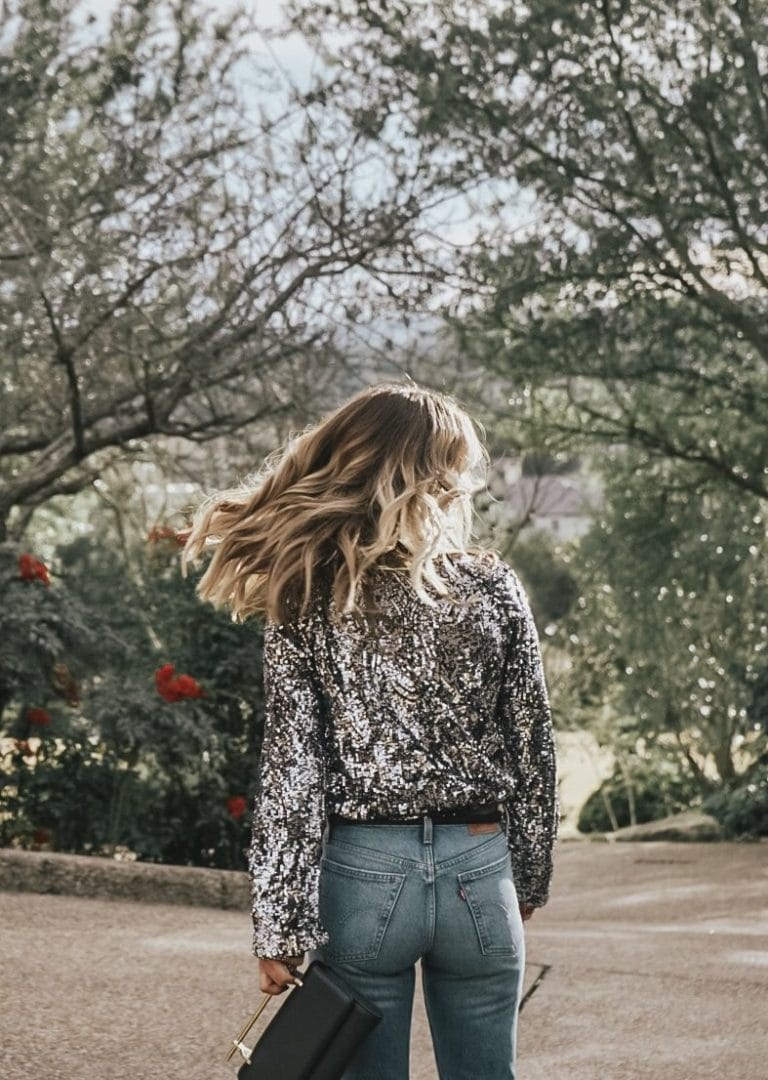denim on new years eve, sequin top outfit